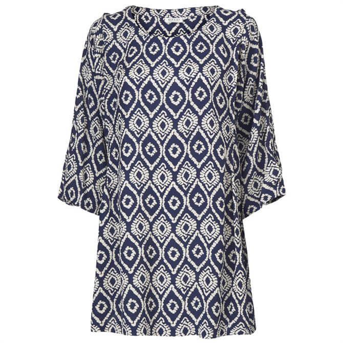 Masai Ganes Medieval Blue Print Tunic Top