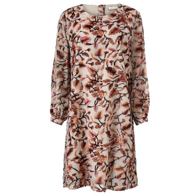 Masai Glenys Floral Print Velvet Dress