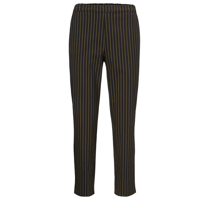 Masai Pamela Black Striped Slim Fit Trousers
