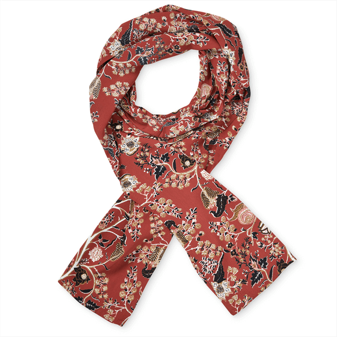 Masai Along Floral Red Ochre Scarf