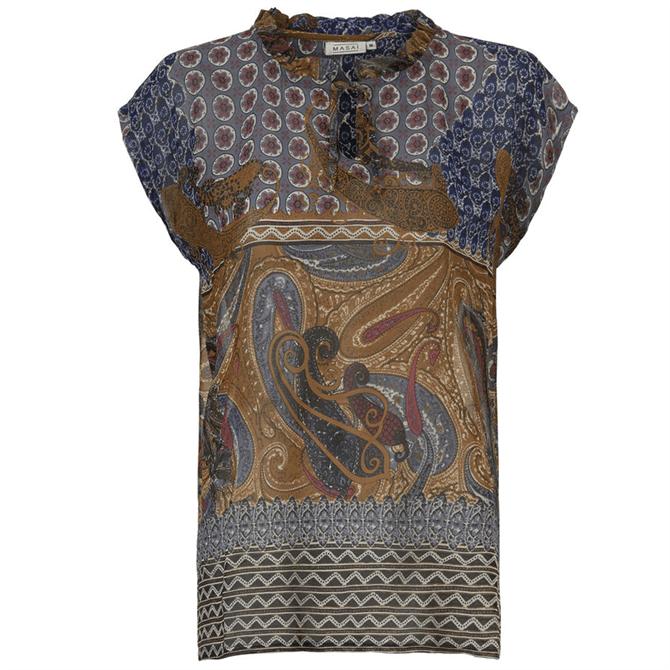 Masai Edel Short Sleeve Paisley Print Top