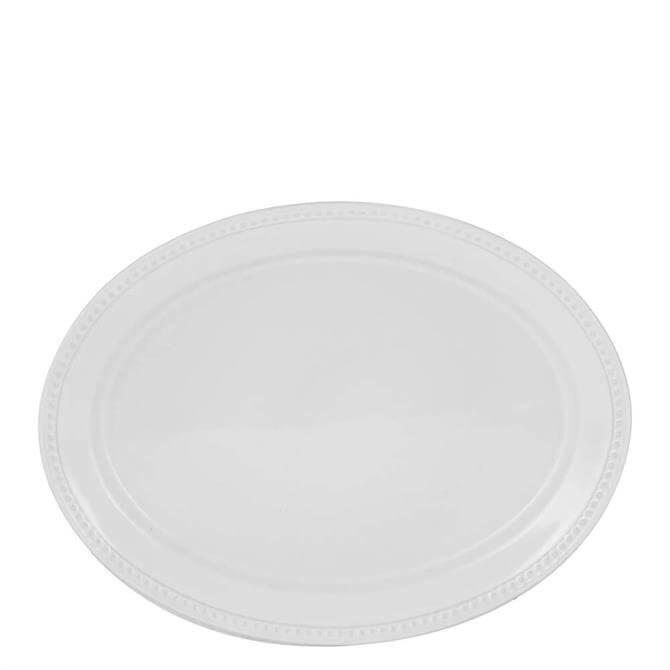 Mason Cash Beaded White Oval Platter