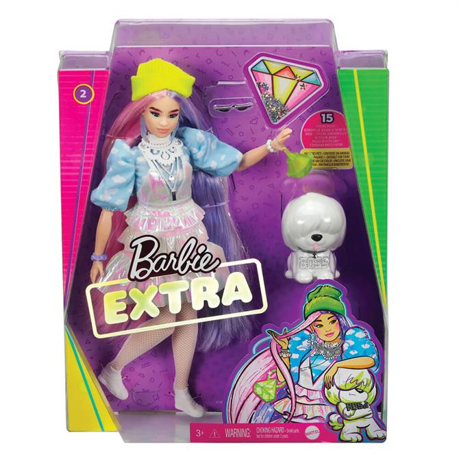 Barbie Extra Doll #2 in Shimmery Look with Pet Puppy