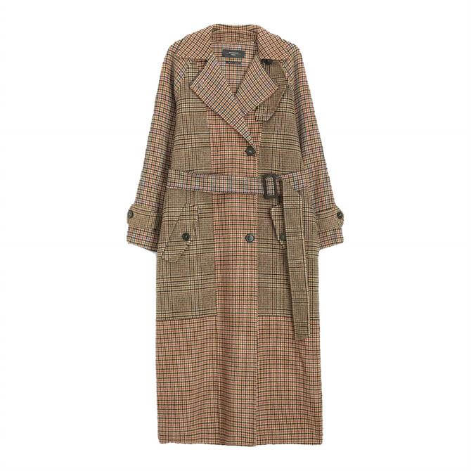 Weekend Max Mara womens Foggia tweed Checked Long Wool Coat