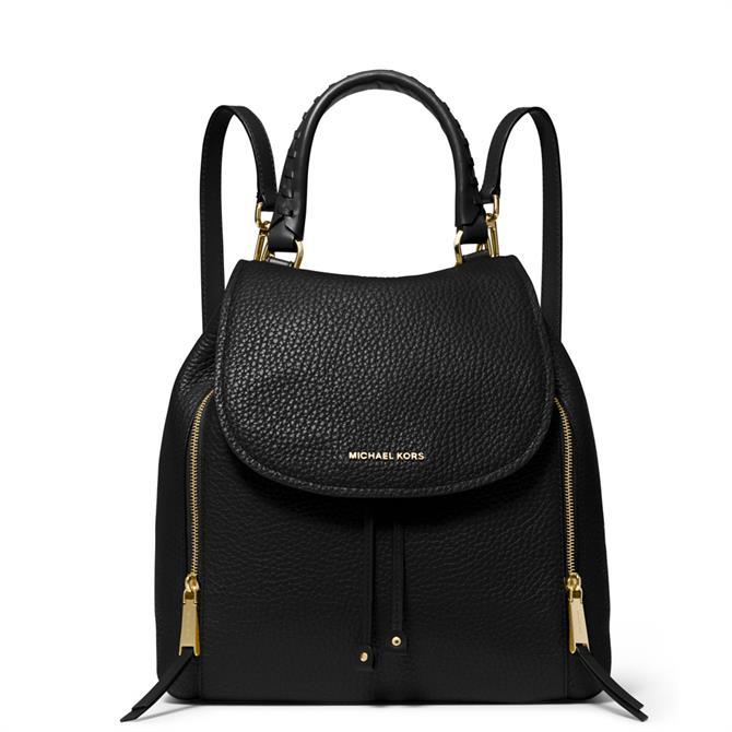 Michael Michael Kors Viv Large Black Pebbled Leather Backpack