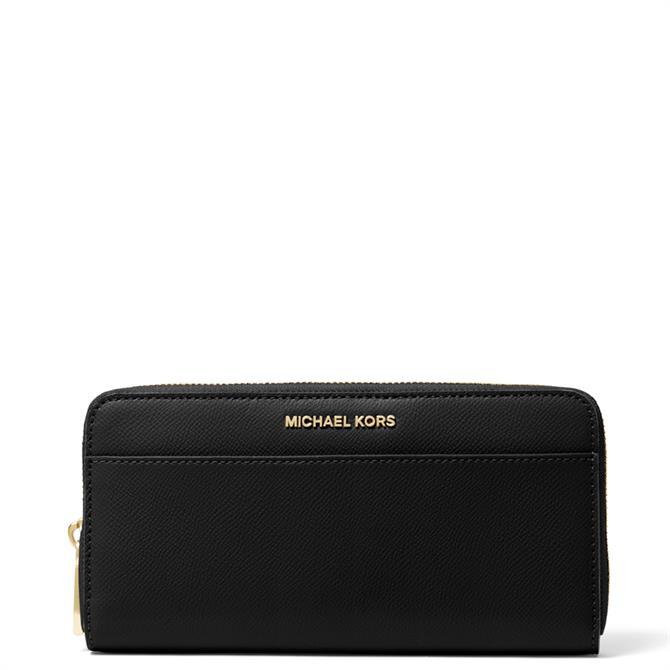 Michael Michael Kors Saffiano Black Leather Continental Wallet