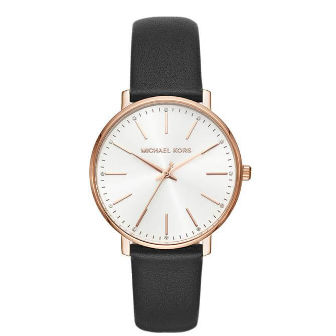 Michael Kors Women's Pyper Three Hand Black Leather Watch