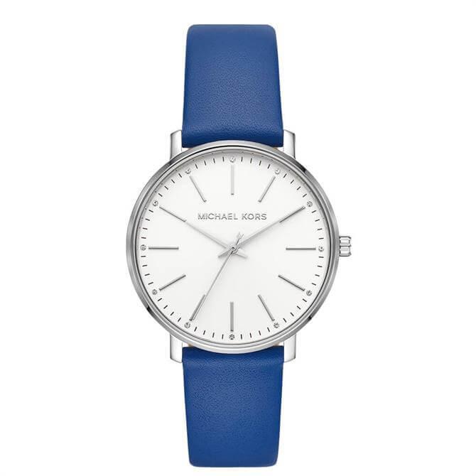 Michael Kors Women's Pyper Three Hand Cobalt Blue Leather Watch