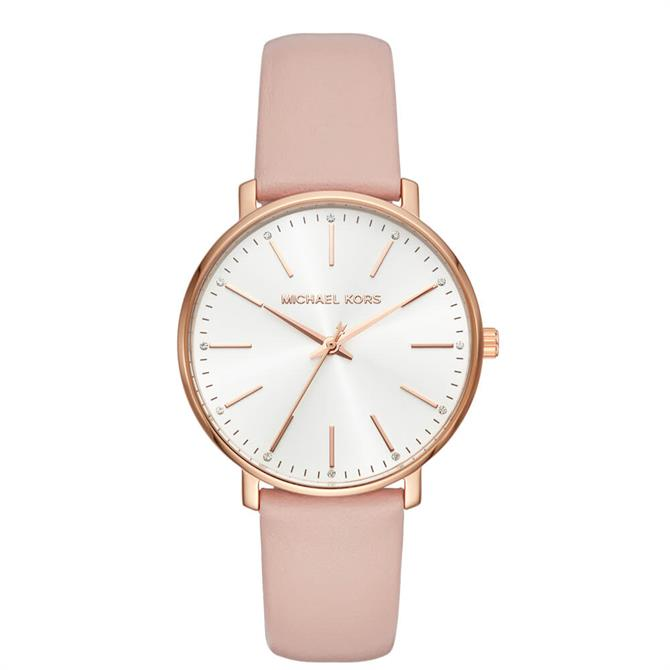 Michael Kors Women's Pyper Rose Gold Tone and Blush Leather Watch
