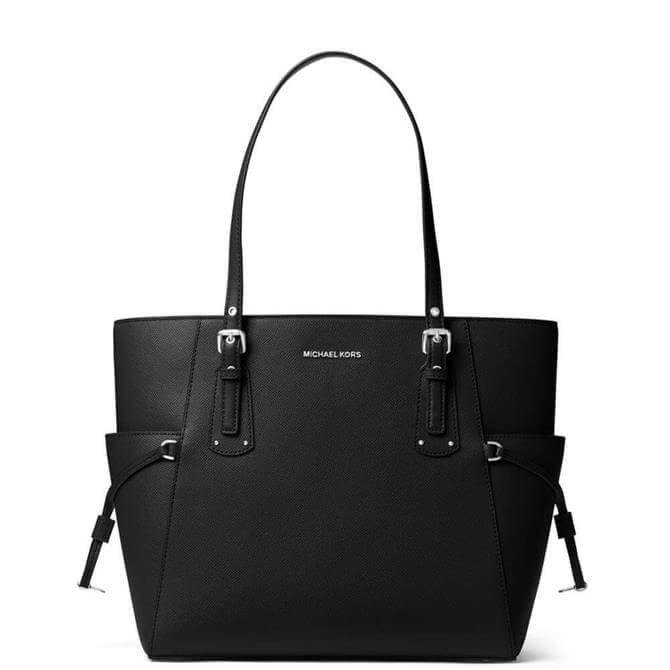 Michael Michael Kors Voyager Small Black Crossgrain Leather Tote Bag with Silver Hardware