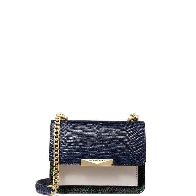 Michael Michael Kors Jade Extra Small Colour Block Embossed Leather Crossbody Bag