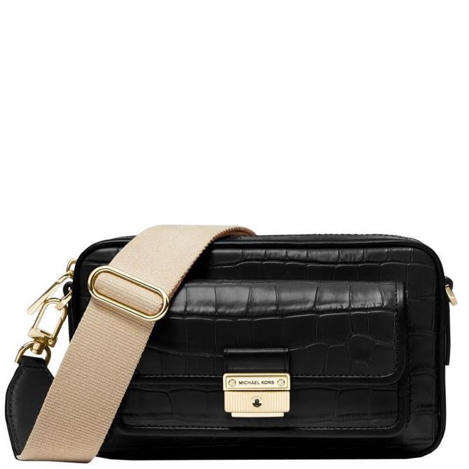 Michael Michael Kors Bradshaw Medium Crocodile Embossed Leather Camera Bag
