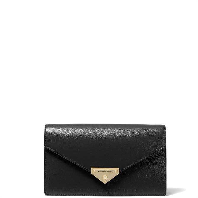 Michael Michael Kors Grace Medium Patent Black Leather Envelope Clutch Bag