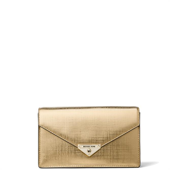 Michael Michael Kors Grace Medium Metallic Leather Envelope Clutch Bag
