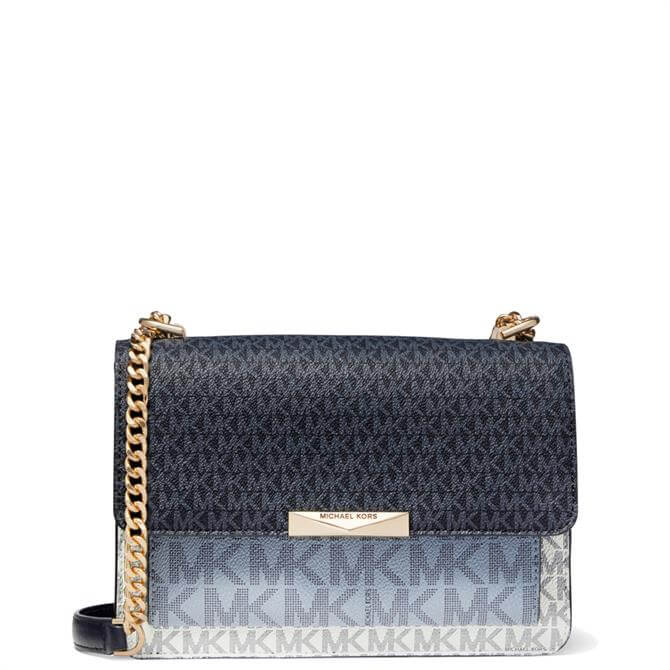 Michael Michael Kors Jade Large Navy Tri-Colour Logo Crossbody Bag