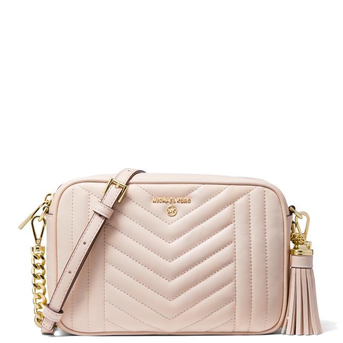 Michael Michael Kors Jet Set Medium Quilted Soft Pink Leather Crossbody Bag