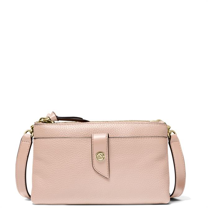 Michael Michael Kors Medium Pink Pebbled Leather Double Zip Crossbody Bag