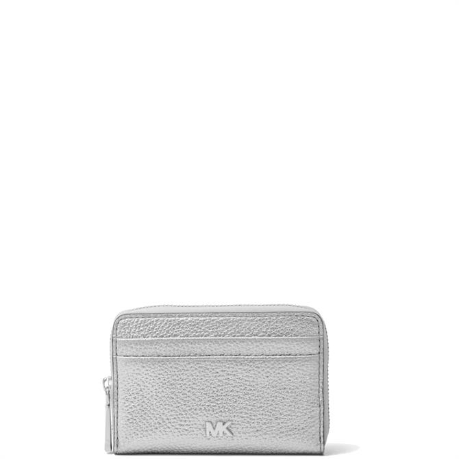 Michael Michael Kors Small Metallic Silver Pebbled Leather Wallet