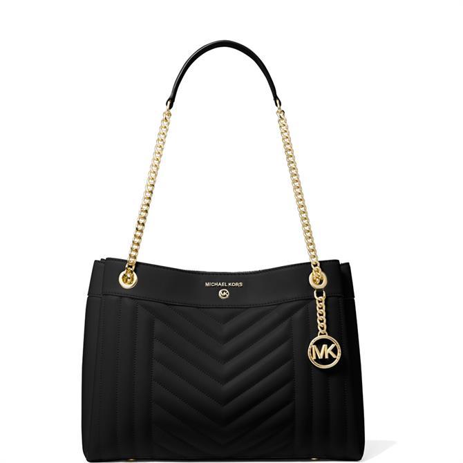 Michael Michael Kors Susan Medium Quilted Black Leather Shoulder Bag