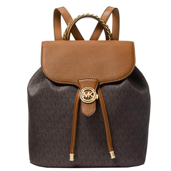 Michael Michael Kors Mina Large Logo and Pebbled Leather Backpack