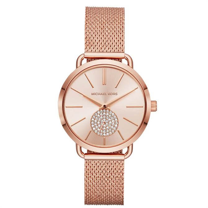 Michael Kors Ladies Portia Rose Gold Tone Watch