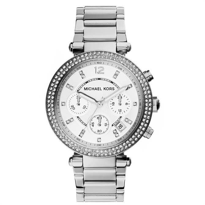 Michael Kors Silver Tone Glitz Parker Watch