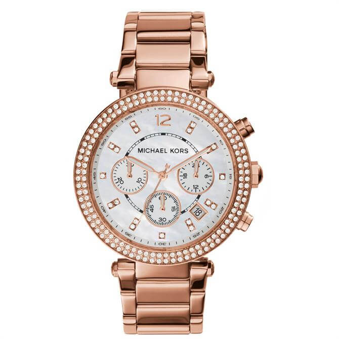 Michael Kors Rose Gold Tone Glitz Parker Watch
