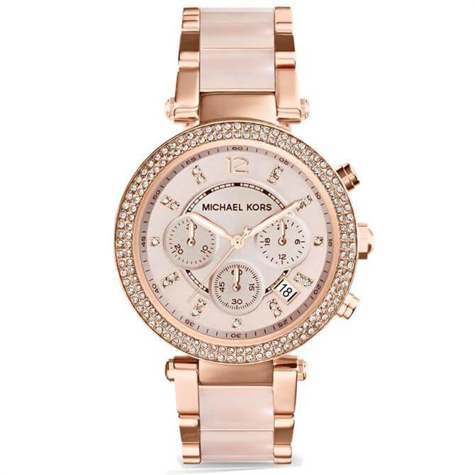 Michael Kors Pale Rose Gold Tone Glitz Parker Watch