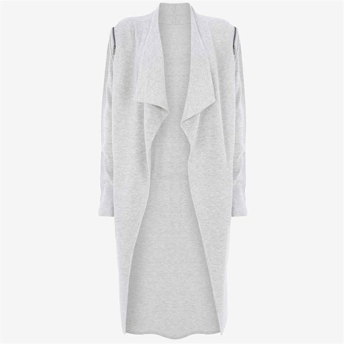 Mint Velvet Grey Ottoman Zip Long Cardigan