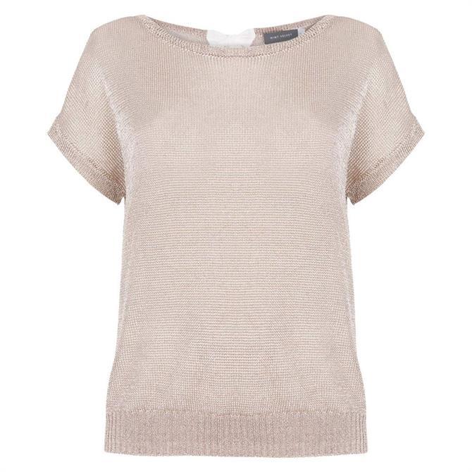 Mint Velvet Rose Gold Metallic Knitted Top