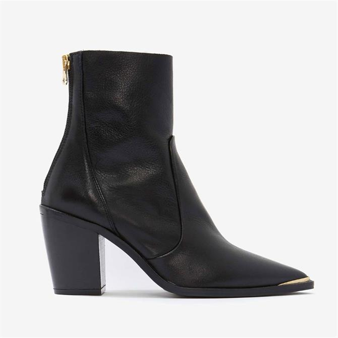 Mint Velvet Amy Black Leather Ankle Boots