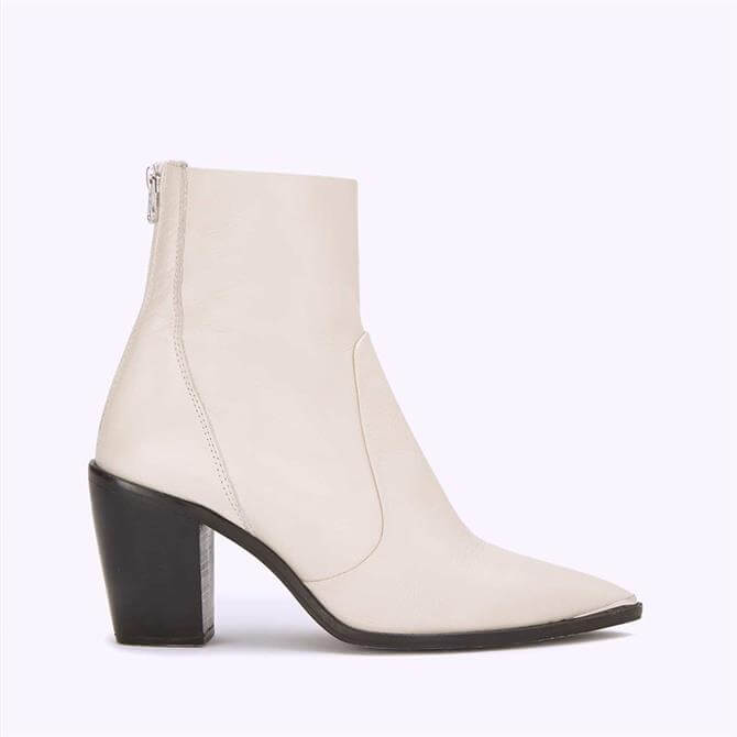 Mint Velvet Amy Off-White Leather Boots