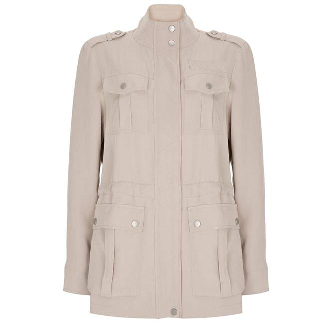 Mint Velvet Beige Studded Tencel Jacket