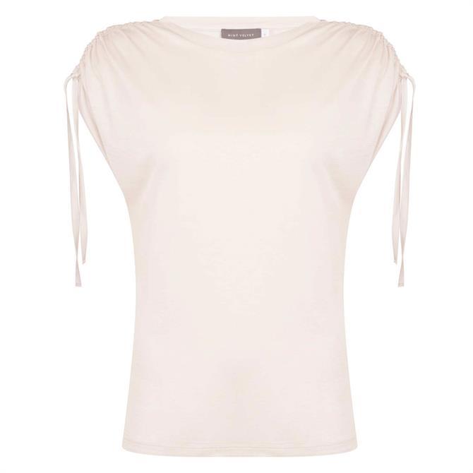 Mint Velvet Beige Tie Shoulder T-Shirt
