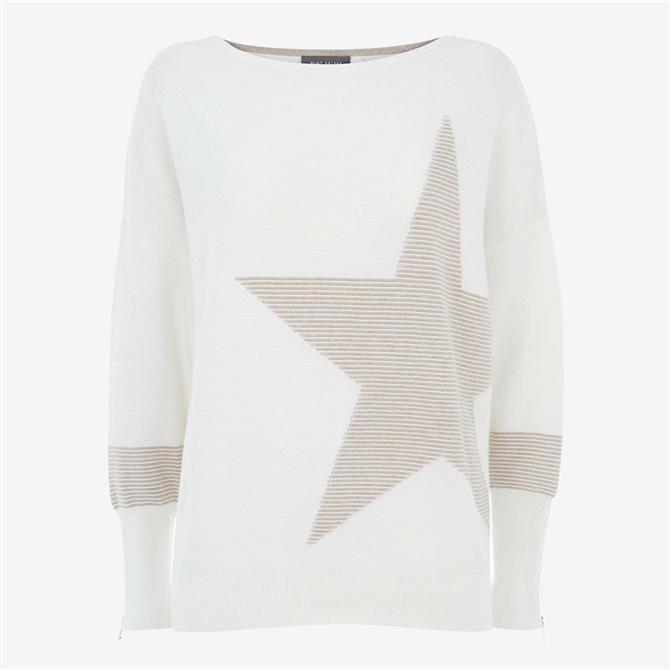 Mint Velvet Off-White & Beige Star Jumper