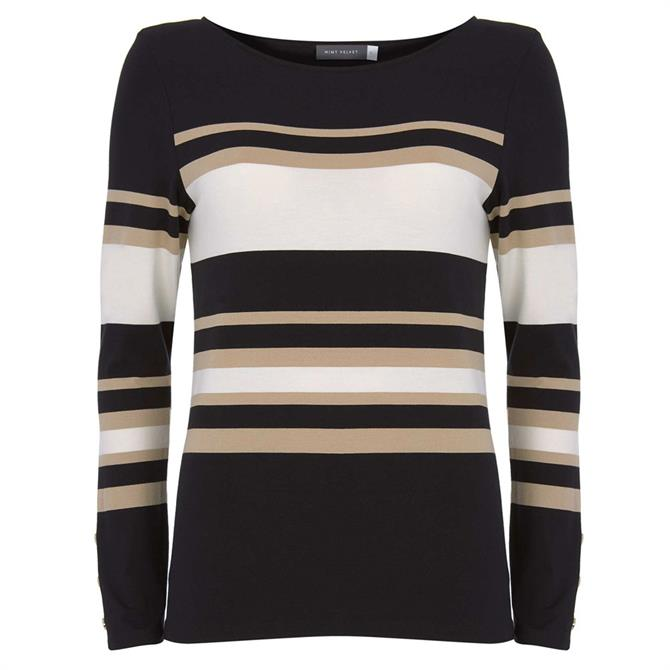Mint Velvet Black Block Striped Jersey Top