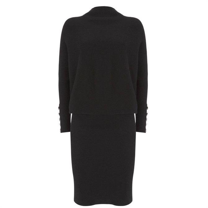 Mint Velvet Black Button Jumper Dress