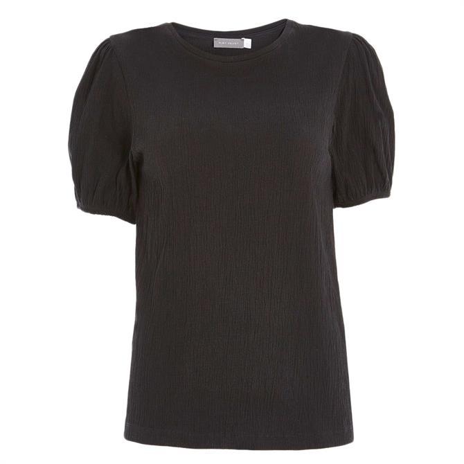 Mint Velvet Black Crinkle Puff Sleeve Top