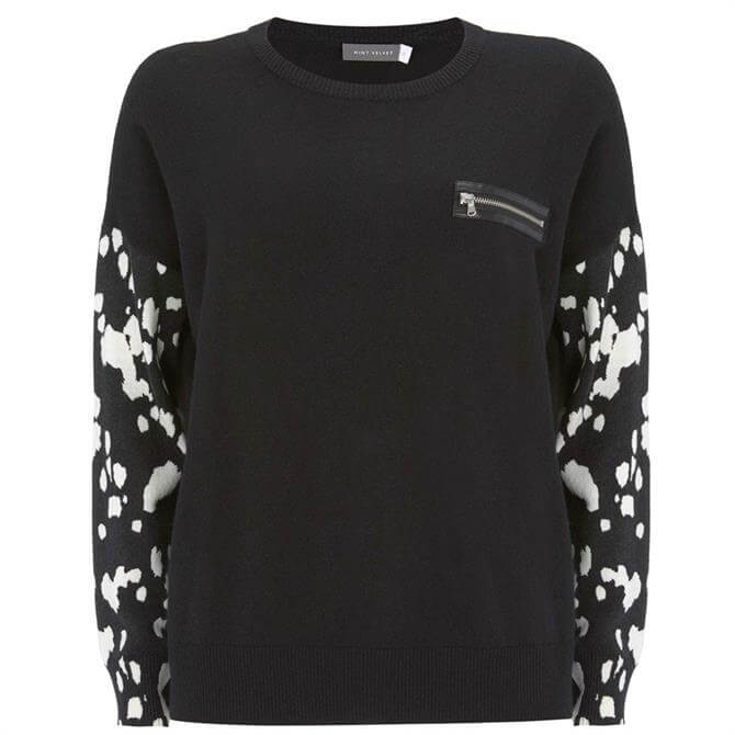 Mint Velvet Black Dalmatian Print Jumper