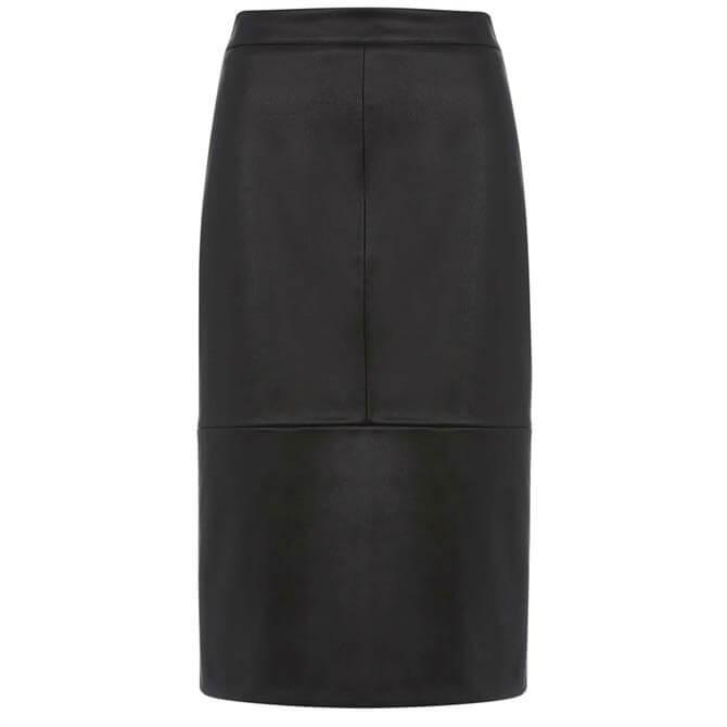 Mint Velvet Black Faux Leather Midi Skirt