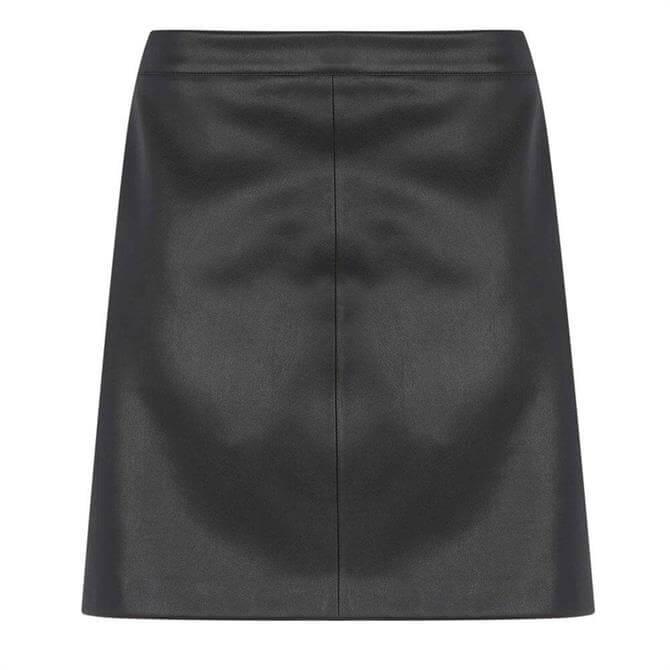 Mint Velvet Black Faux Leather Mini Skirt