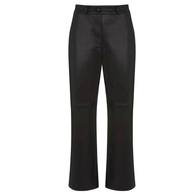 Mint Velvet Black Faux Leather Trousers
