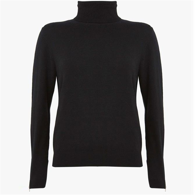 Mint Velvet Black Fitted Polo Neck Jumper