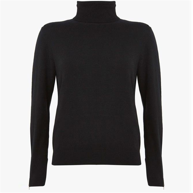 Mint Velvet Black Fitted Polo Neck Jumper
