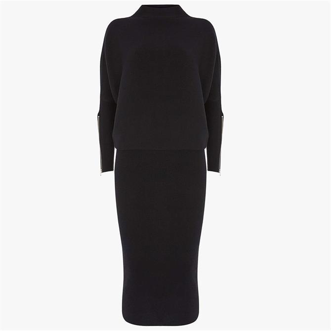 Mint Velvet Black Funnel Neck Jumper Dress