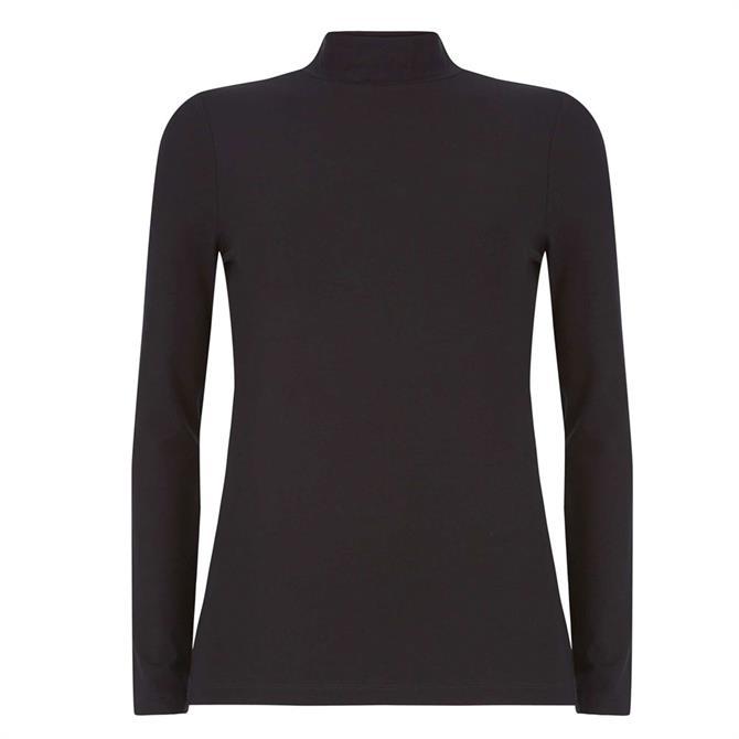 Mint Velvet Black Jersey Polo Neck Top