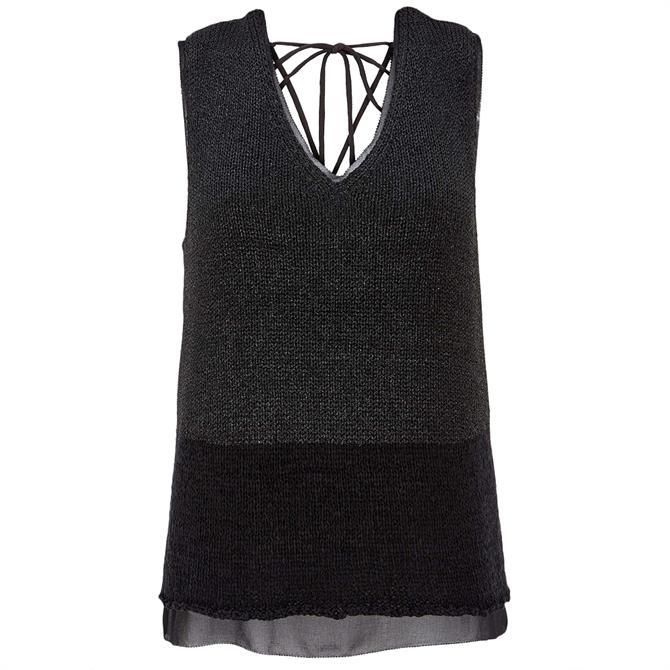 Mint Velvet Black Knitted Blocked Top
