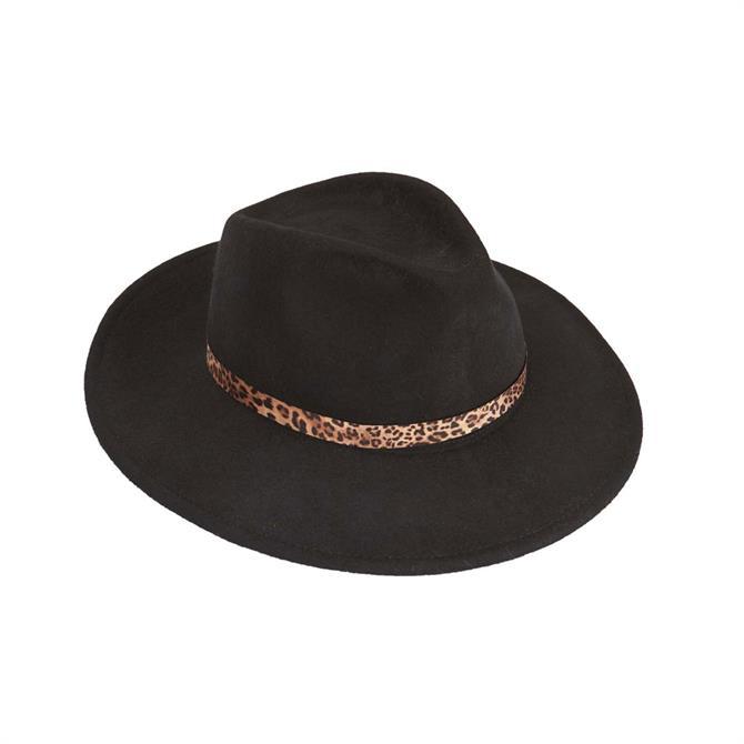 Black Leopard Fedora Hat