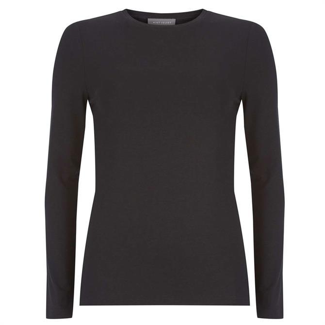 Mint Velvet Black Long Sleeved Jersey Top