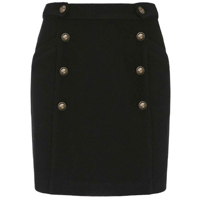 Mint Velvet Black Military Mini Skirt
